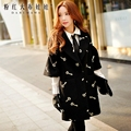 dabuwawa wool coat 2016 women's autumn and winter new korean fashion casual turn down collar embroidery long jacket pink doll