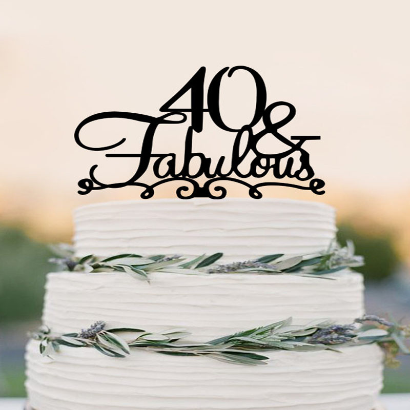 40 Cake Topper FABULOUS 40th Birthday Cake Topper Wedding Cake