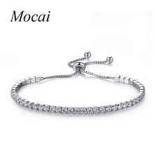 New Design Silver Plated Simple Charm Shiny Austria Crystal Adjust Bracelets & Bangles Women Accessories Wholesale ZK20