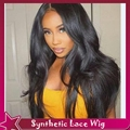 Natural looking Wavy Lace front Wigs Jenner Heat Resistant Black/Brown Synthetic Lace Front Wigs African American Glueless wigs