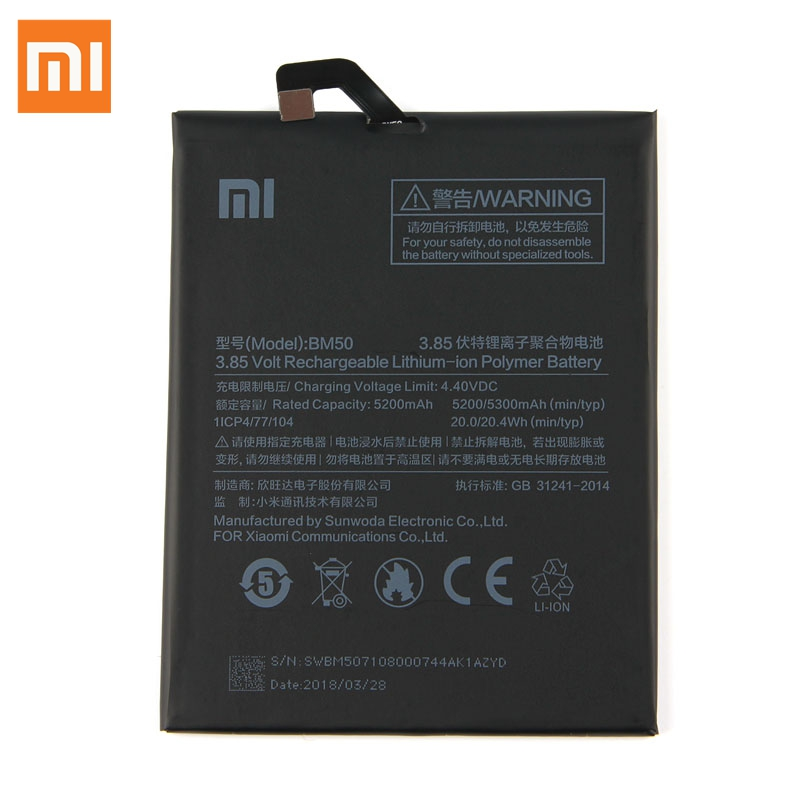 Original Replacement Battery For Xiaomi Mi Max 2 Max2 BM50 Genuine Phone Battery 5300mAh