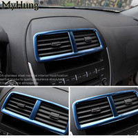 Voor mitsubishi asx 2011 2012 2013 rvs airconditioning outlet decoratie cirkel cover auto-onderdelen 1 st auto styling