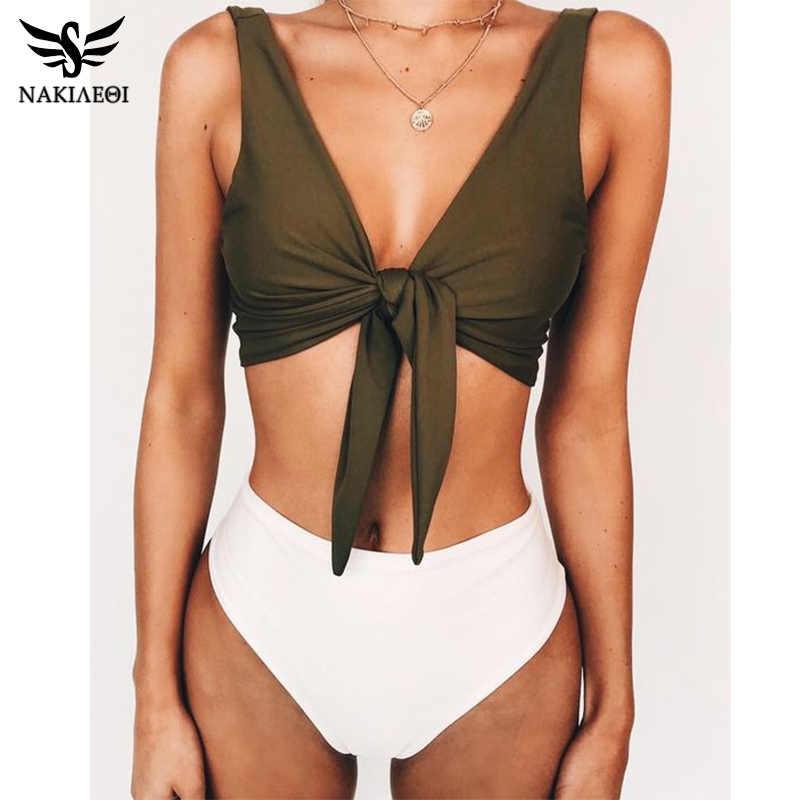 Nakiaeoi Cao Cấp Đầm 2019 Mới Gợi Cảm In Bikini Đồ Bơi Nữ Push Up Áo Tắm Mặc Đi Biển Brasil Bikini Bộ