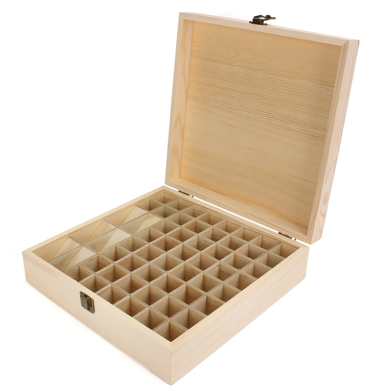 new simple 58 slots large capacity essential oils wooden box jewelry storage case decorative boxes for
