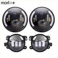 Marloo DOT Wrangler JK TJ 7inch Daymaker LED Headlights Amber Signal Light With JK 4 LED