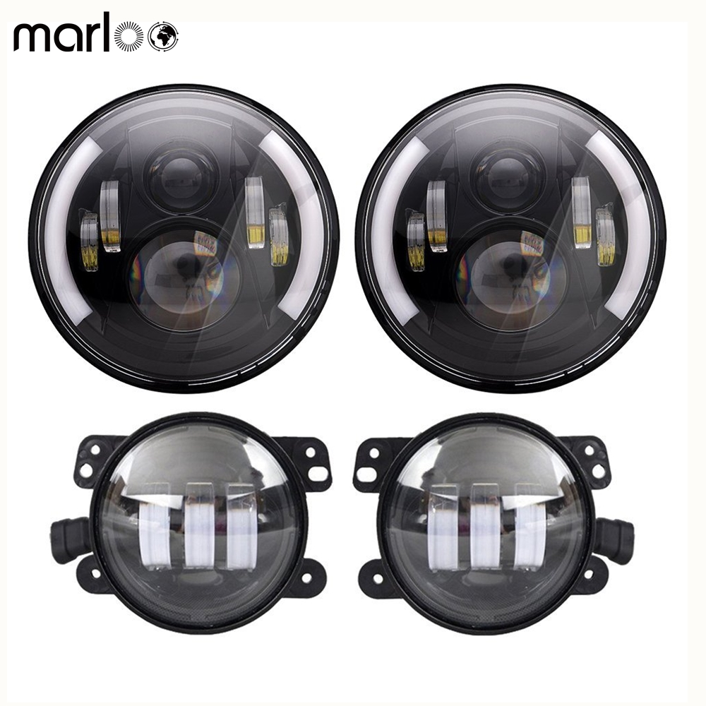 Marloo DOT Wrangler JK TJ 7inch Daymaker LED Headlights Amber Signal Light With JK 4 LED Fog Lights Set for Jeep Wrangler JK