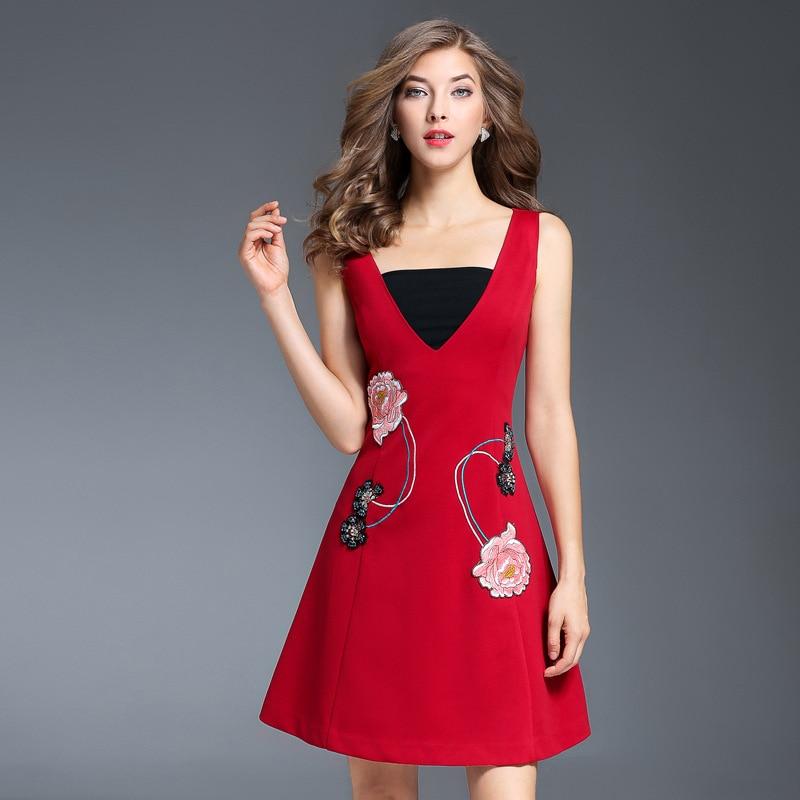 Manches Ligne La Sans Rouge Une Taille Femmes Dames Bleu Bureau Floral Bleu V Automne Cou Mince Robe Plus rouge Broderie Motif qEaO6w