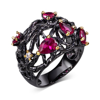 Nice Looking Beauty Women CZ Rings Black Gold-color Fuchsia Drop Cubic Zirconia Lead Free Evening cocktail ring for women