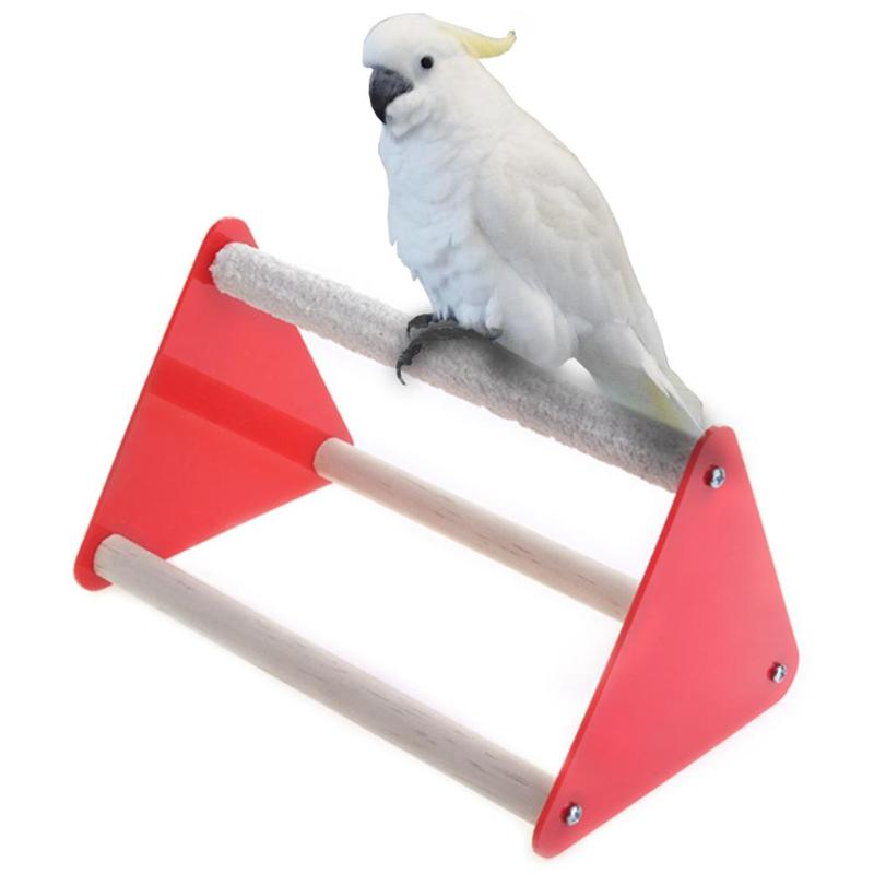 Parrot Bird Perch Stand Bite Grinder Claw Rubber Bird Toys Triangle Ladder Acrylic font b Pet