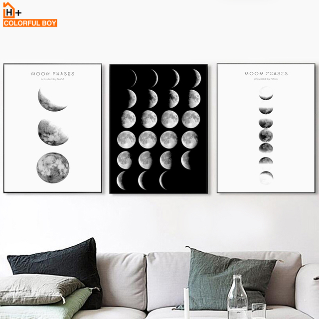 COLORFULBOY Sea Moon Phases Wall Art Print Canvas Painting Nordic Poster Black White Pop