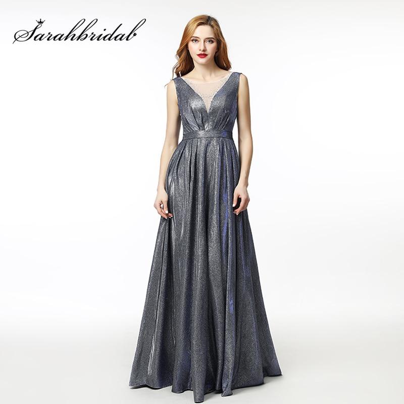 2019 Open Back Lace Up A Line Long Evening Dress Illusion Party Elegant Vestido De Festa