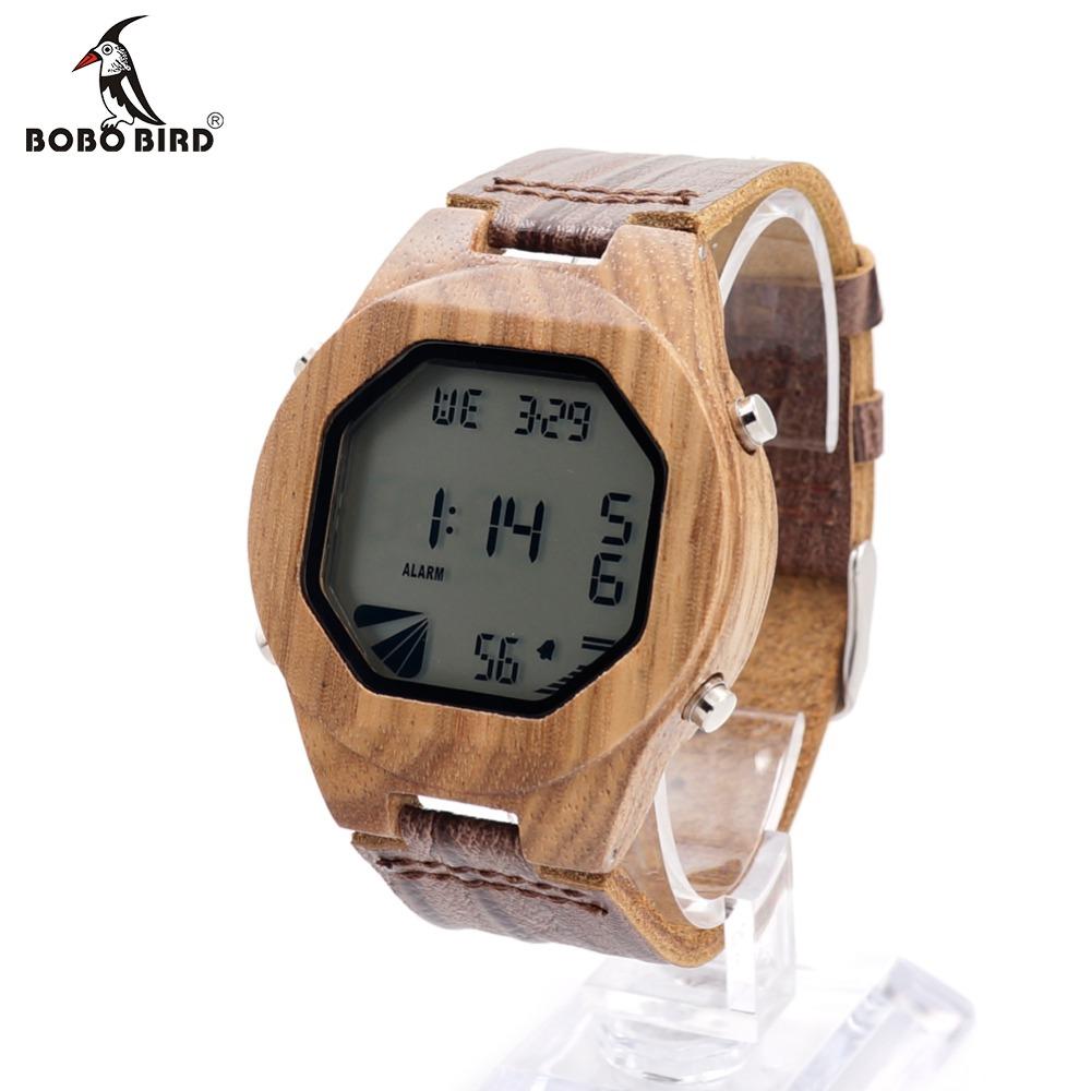 Prix pour Bobo bird a13 mens marque de luxe led sport en bois montres casual bambou bois numérique montres hommes multifonctionnel en bois boîte