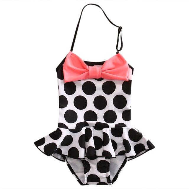 fb73fbe7e84d56 2017 Leuke Kids Baby Meisjes Boog Bikini Zomer Mouwloze Gestippelde Beachwear  Tankini Stip Badpak Badmode Badpak