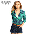 Veri Gude Women's Plaid Shirt Fashion Tops Slim Fit Casual Cotton Blouse Free Shipping