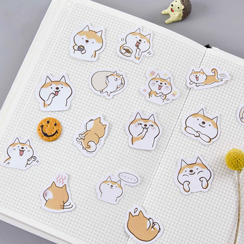 45PCS/PACK Kawaii Cute Dog Shiba Inu Sticker Marker Planner Diary Decorate School Stickers Scrapbooking Bullet Journal sl1507 custom logo vintage scrapbook journaling stickers cute aesthetic kawaii bullet journal diary decoration planner sticker flakes