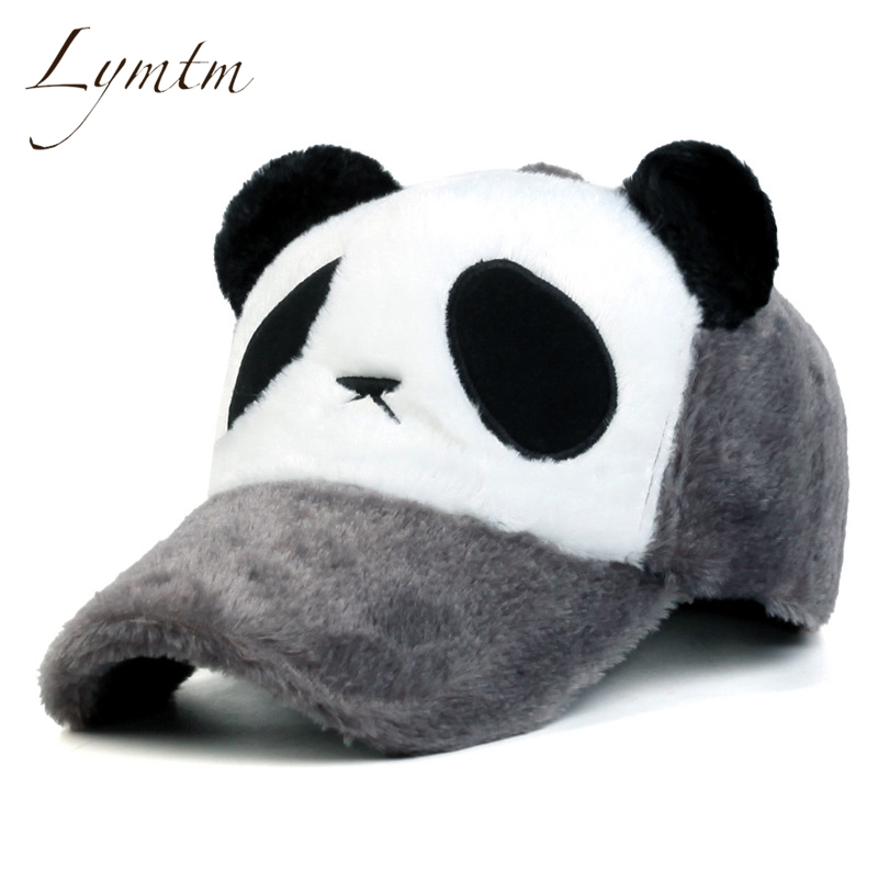 [Lymtm] 2017 Kawaii Winter Warm Thick Panda Baseball Cap Women Wen Contrast Color Autumn Washed Adjustable Cute Snapback Hats