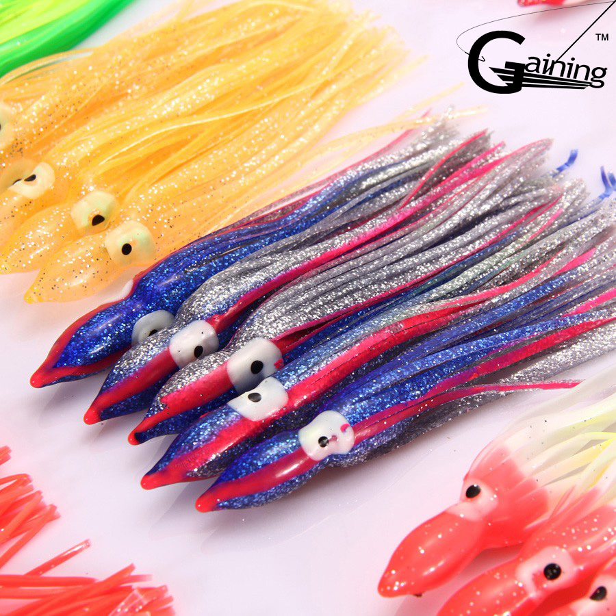 10pcs Mix Color Artificial Bait 18cm fishing lures soft bait Squid Skirt Octopus Saltwater Fishing Lure 8 inch soft skirt bait sea fishing lures game trolling fishing lures resin head with double octopus skirt
