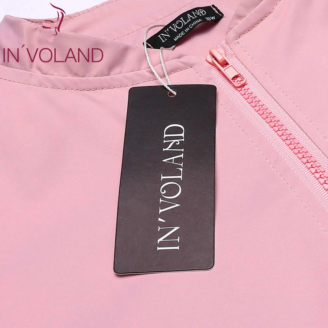 IN'VOLAND Big Size Women Bomber Jacket Autumn Fashion Mock Collar Long Sleeve Zipper Feminino Large Coat Tops Plus Size L-4XL 5