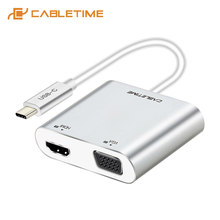 CABLETIME USB HUB USB C do HDMI VGA 2 w 1 typu C do HDMI 4K USB-C VGA piasty do Samsung Galaxy S9/S8/uwaga 9 Huawei Mate C037(China)
