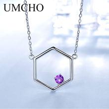 c78dee817e49 UMCHO amatista Real 925 plata esterlina collares para mujeres varias  piedras preciosas joyería de plata 925 collar de regalo de .