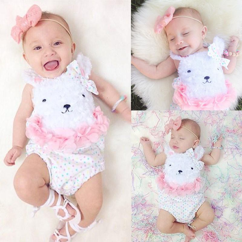 New Newborn Baby Girl Summer One-Pieces Clothes Baby Flower Polka Dot Bear Bodysuit Jumpsuit Outfits Costume plus dot mesh yoke flounce embellished bodysuit