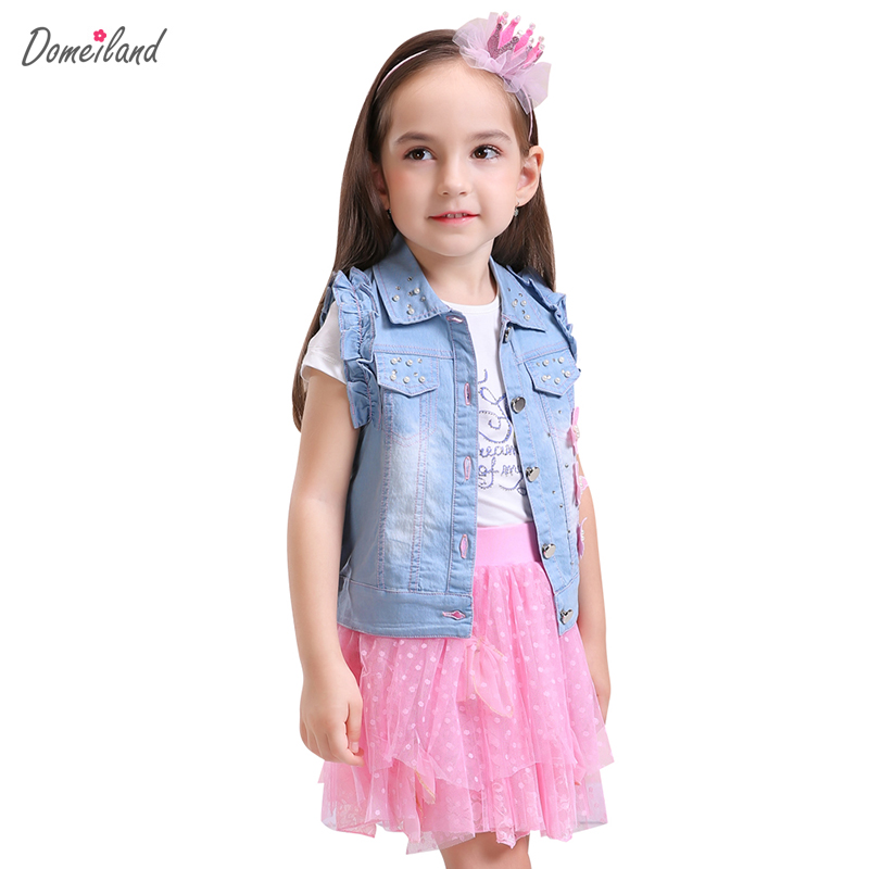 2017 fashion summer children clothing sets 3pcs kids girl domeiland outfits sleeveless jackets cotton tops Denim skirt clothes 2018 new style spring kids baby girl clothes 2pcs casual girl outfits sets denim jackets sleeveless dress vetement fille 13 14