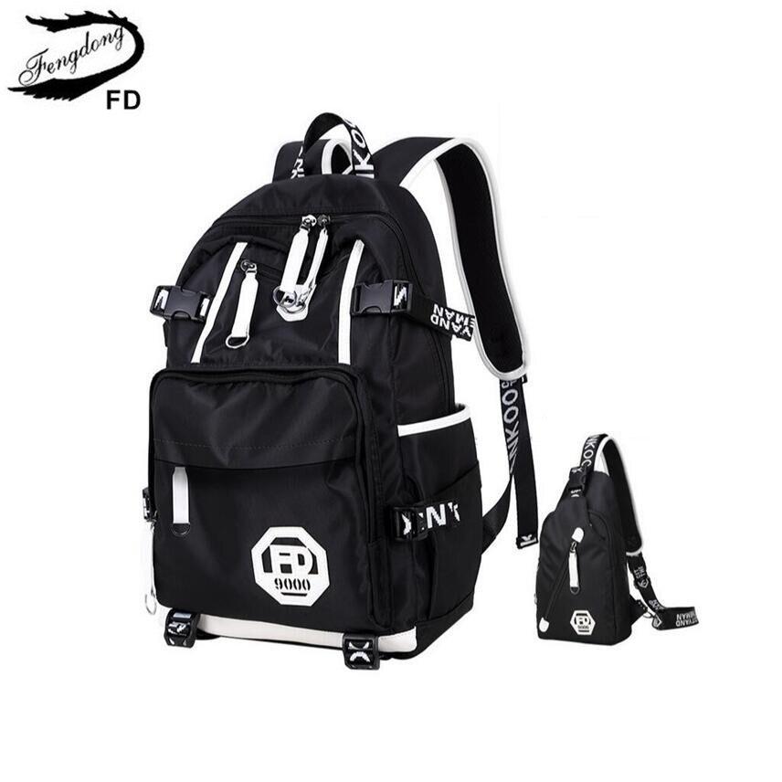 FengDong large black waterproof Men travel backpack boy sling chest bag set shoulder laptop bags for women bagpack student bag