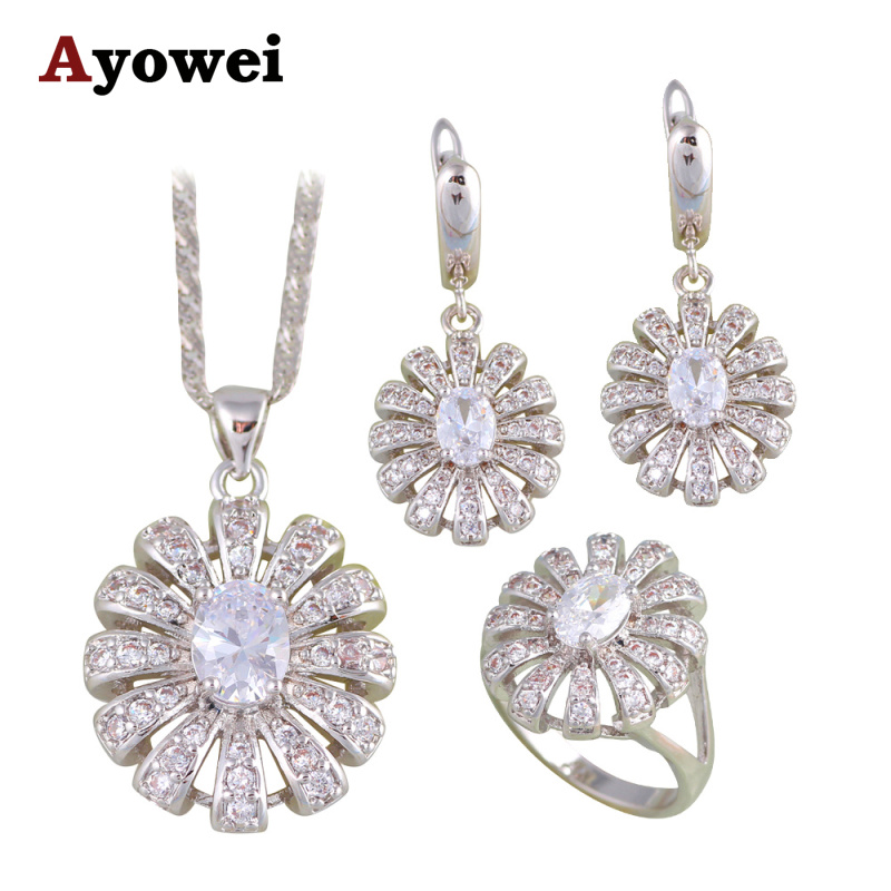 Round White Zircon Silver Stamped Fashion Jewelry Sets Earrings Pendant Necklace Rings for Women Party Gift