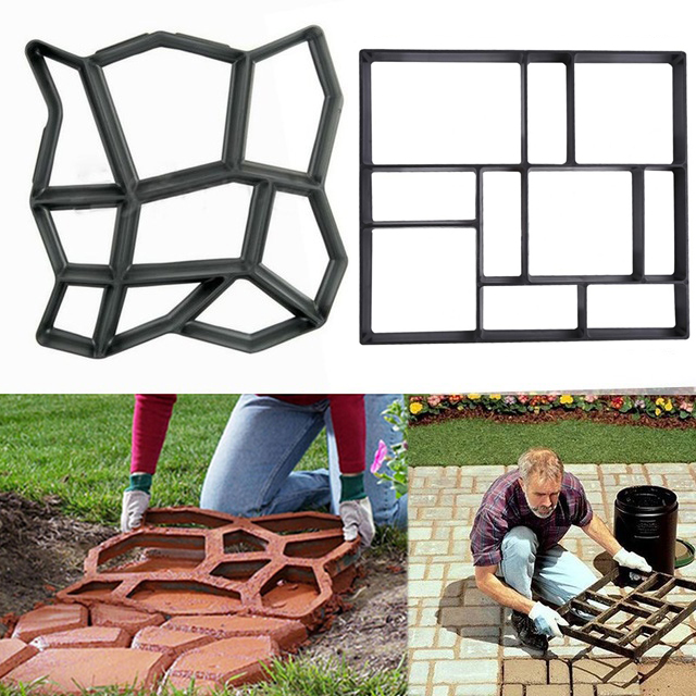 Black Plastic Making DIY Paving Mould Home Garden Floor Road