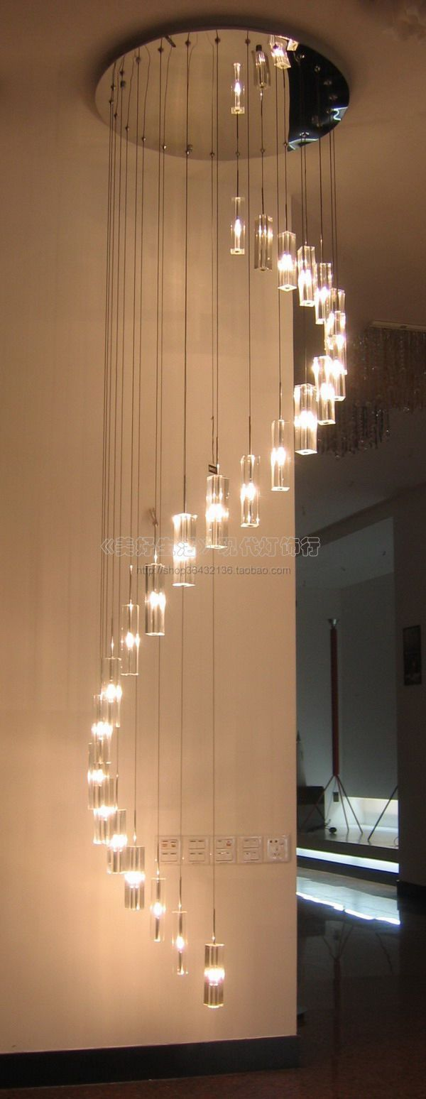 Modern Crystal Lamp Slitless Low Voltage Pendant Light Living Room Lights Stair Spiral