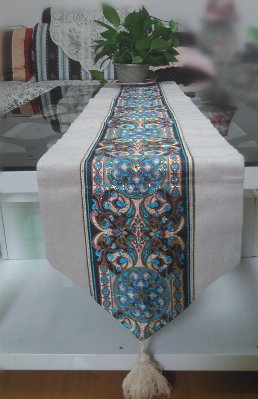 Exquisite Embroidery Pattern Table Runner Modern Style Runners Tablecloths Cotton And Linen Fabrics In From Home Garden On