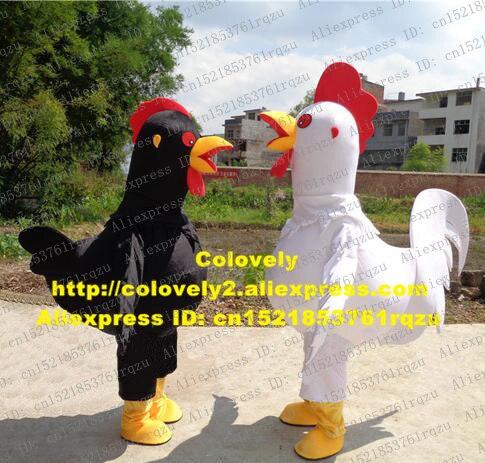 Billiger Preis Comely Schwarz Weißen Hahn Hahn Hen Huhn Chook Maskottchen Kostüm Cartoon Charakter Mascotte Fett Körper Gelb Füße Zz11 Freies Schiff