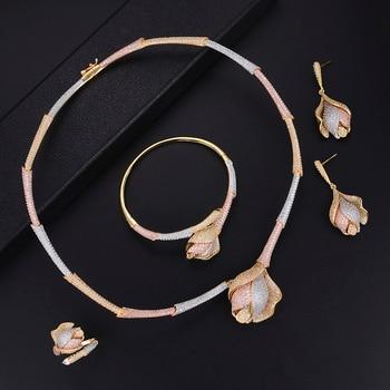 Luxury Trendy Jewelry Sets Flower Shape Adjustable Rings Necklace Bracelet Earrings Sets Micro Cubic Zirconia For Women Wedding
