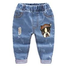 DIIMUU Kids Fashion Baby Clothing Boys Denim Pants Children Clothes Jeans Cute Cartoons Hole Elastic Waist Long Trousers