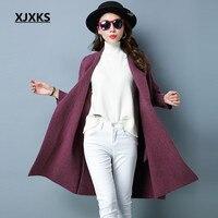 XJXKS Batwing Sleeve Large Size Women Off Shoulder Woolen Coat Blends Knitted Cardigans Oversized Blends Coats