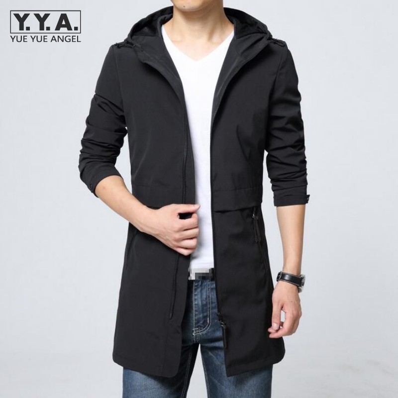 Buy Spring Men Korean Style Fashion Jacket Casual Mid-Long Slim Fit Mens Coats Hooded Thin Windbreaker Boys Overcoat Chaqueta Hombre