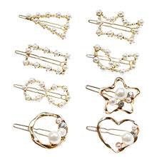 8 Style Korea Imitation Pearl Hairpins Shiny Vintage Long Barrettes Hair Clips Crystal Metal Accessories Hairgrip