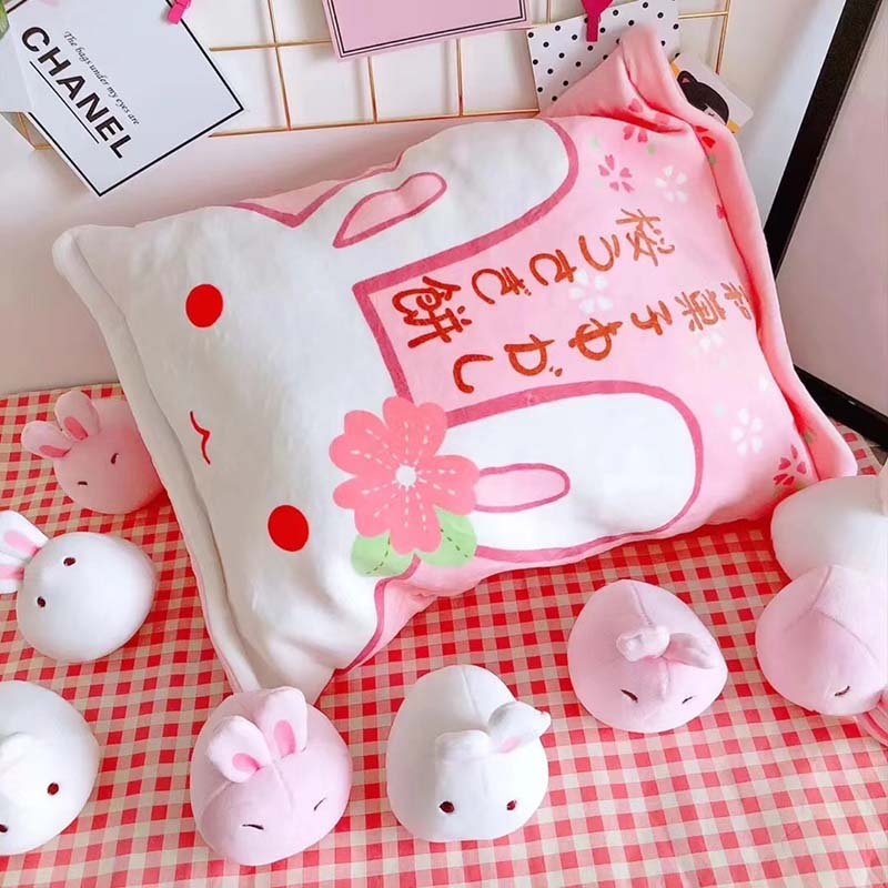Kawaii Pink Bag of Mini Bunny Plushies  1