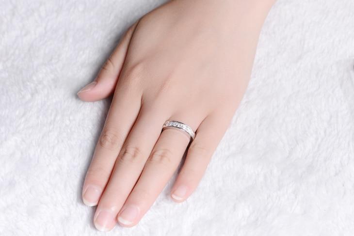ZOCAI Nyata 18 K emas putih 0.9 ct bersertifikat asli berlian - Perhiasan bagus - Foto 6