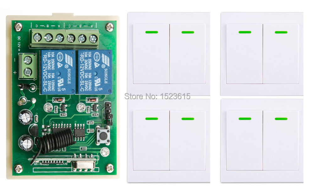 New DC12V 2CH Wireless Remote Control Switch System Receiver + 4*Wall Panel Remote Transmitter Sticky Remote Smart Home Switch new restaurant equipment wireless buzzer calling system 25pcs table bell with 4 waiter pager receiver