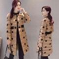 2016 de invierno de gran tamaño de la chaqueta de algodón mujeres largo grueso bordado de Algodón delgado ropa femenina de las mujeres Parkas