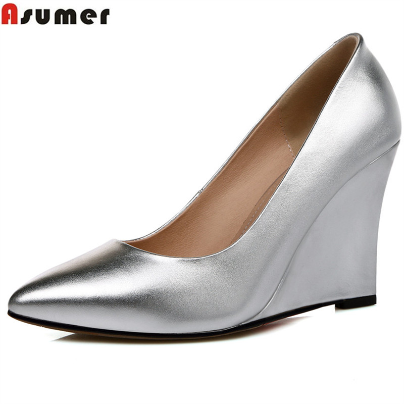 ASUMER 2018 fashion spring autumn shoes woman pointed toe shallow elegant wedges pumps women shoes high heels genuine leather кольца