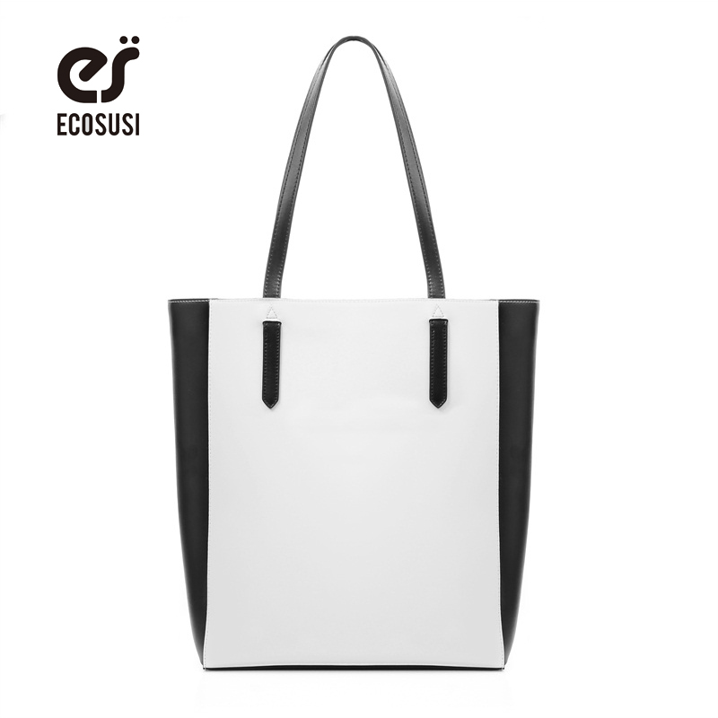 ECOSUSI 2018 New Women Leather Handbag Casual Women Messenger Bags Simple Shoulder Bags Designer Handbags Female Totes Sac 2017 women leather handbags summer new oil wax cowhide handbags female retro handbag fashion simple shoulder messenger bags