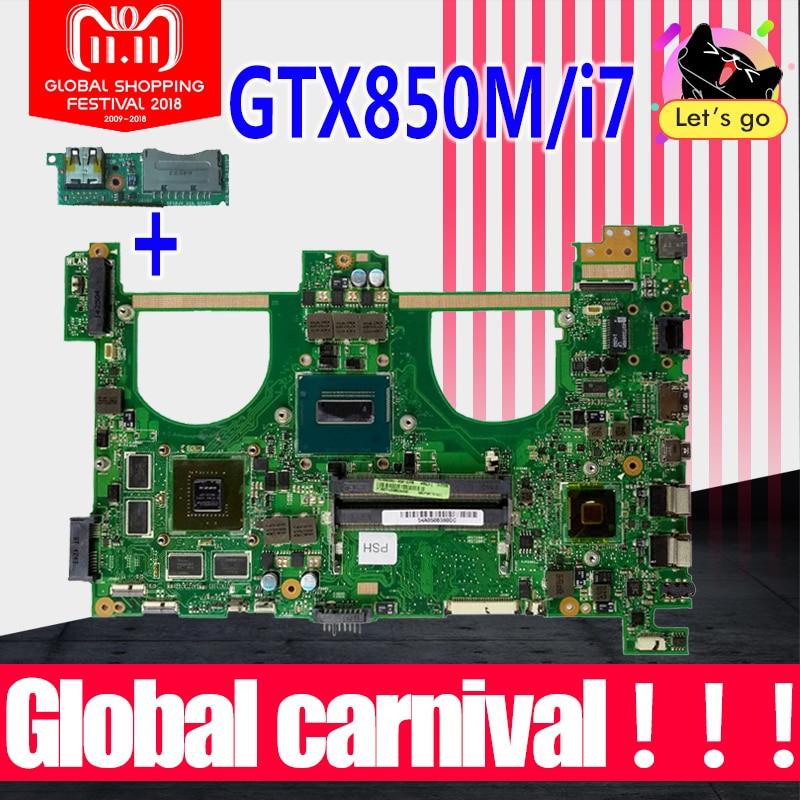 Send board+GTX850M 2GB i7 N550JK Motherboard For ASUS Q550JV G550J G550JK N550JV N550JV N550J laptop Motherboard Mainboard HM86