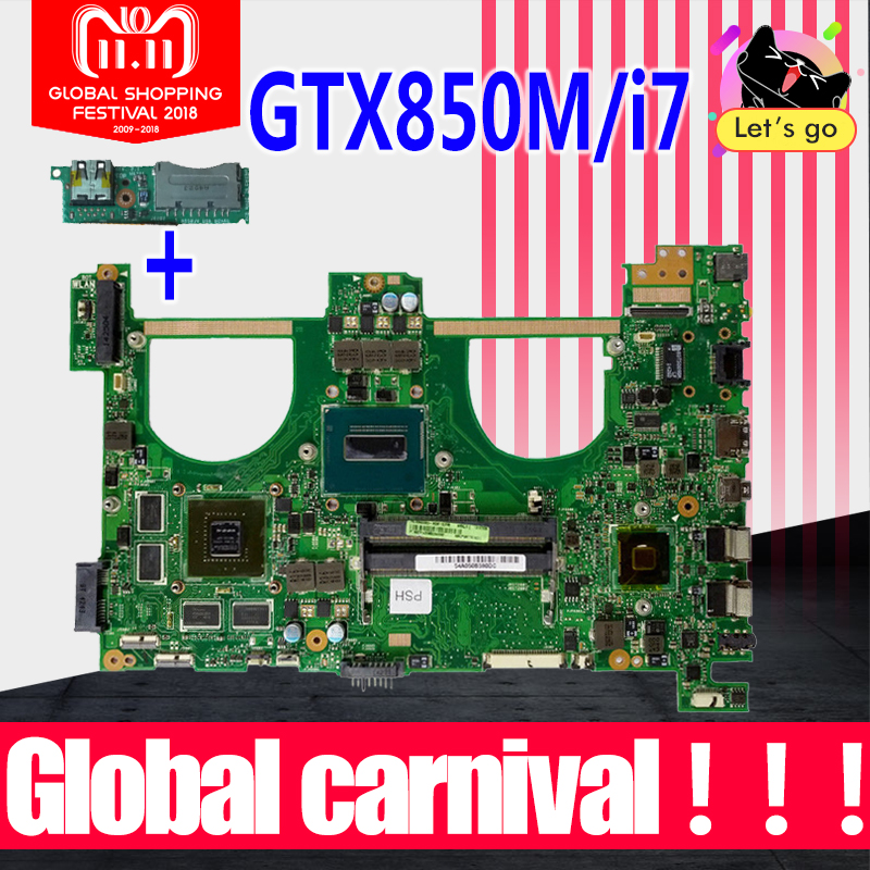 Send board+GTX850M 2GB i7 N550JK Motherboard For ASUS Q550JV G550J G550JK N550JV N550JV N550J laptop Motherboard Mainboard HM86