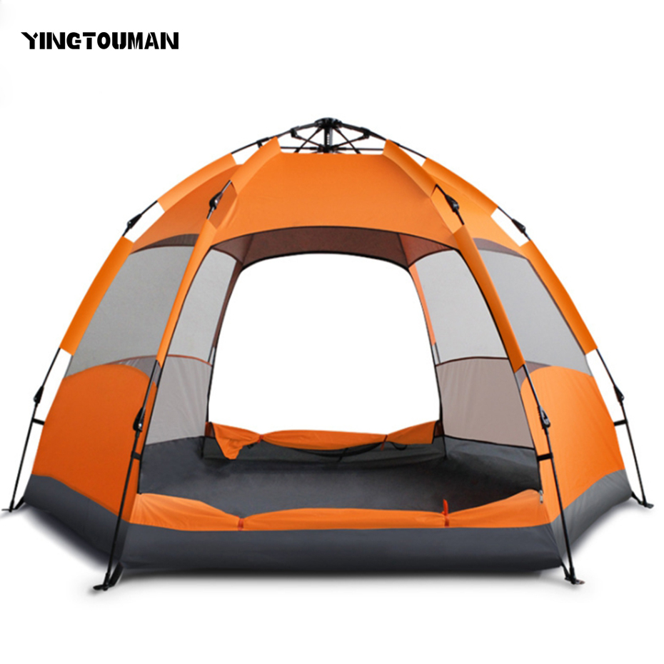 YINGTOUMAN Outdoor 5-8 Person Quick Automatic Opening Outdoor Camping Picnic Double Tents Sunscreen Hexagonal Tent high quality outdoor 2 person camping tent double layer aluminum rod ultralight tent with snow skirt oneroad windsnow 2 plus
