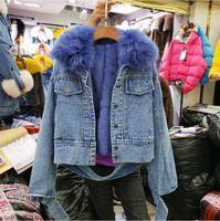 Warm Denim Jacket Short Warm Coat Real Fur Collar + Real Rabbit Fur Liner Coat Women Slim Jeans Jacket Overcoat Parka Parkas