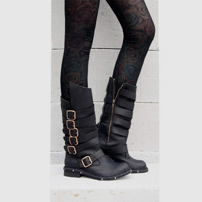 Genuine Leather Black Brown Thigh High Boots Studded Botas Mujer buckle Cowboy Boots Shoes Woman horse ridding 2017 summer genuine leather botas mujer thigh high gladiator summer boots black color square heel big buckle strap shoes woman