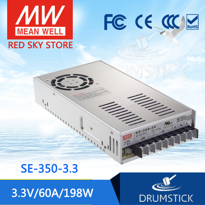 Advantages MEAN WELL SE-350-3.3 3.3V 60A meanwell SE-350 3.3V 198W Single Output Switching Power Supply best selling mean well se 200 15 15v 14a meanwell se 200 15v 210w single output switching power supply