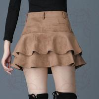 New 2018 Suede skirts fashion autumn winter culottes crochet mini skirt high waist Pleated Ruffle Solid Boots Skirts Hot sale